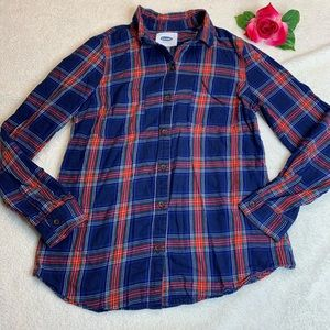 Old Navy Womens Small Blue Plaid Button Up Shirt